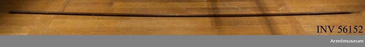 Grupp D I. Vallpik av 1600-talstyp för infanteriet. Själva spetsen har kvadratiskt tvärsnitt och är 92 mm lång samt nedtill 11 mm bred. Holken är konisk. Spetsen och holkens sammanlagda längd är 215 mm. De båda skaftskenorna är c:a 11 mm breda. Den ena är 555 mm och den andra 562 mm lång. Vardera fasthålles av fem skruvar som ersätter de ursprungliga nitarna. Skaftet har ursprungligen varit något längre så att pikens hela längd har varit omkring 5,4 m, men är nu avsågat nedtill. Drottningskärs fästning omkring 1800. y
