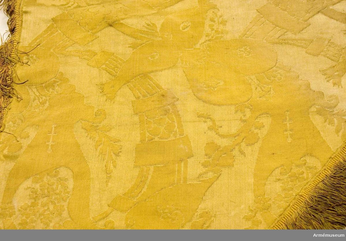 Duk: Tillverkad av enkel gul sidendamast, sydd av två horisontella våder. Kantad med en enkelsilkesfrans i vitt och gult. Fäst vid stången med tre rader tennlickor på gula band.  Mönster: Dukens damast har en bisarr design, jämför 16985 (AM.068119).  Dekor: Målad omvänt lika på båda sidor, Skånes sköldemärke, ett rött griphuvud med röd och silvergrå tunga, krönt med öppen gyllene krona.  Banderoll: Snoddar av gult silke, flätade, med två stycken tofsar av gult silke.  Stång: Tillverkad av gråmålad furu. Kannelerad ovanför greppet, nedanför rund. Löpande bärring. Beslagen med tre järnskenor.