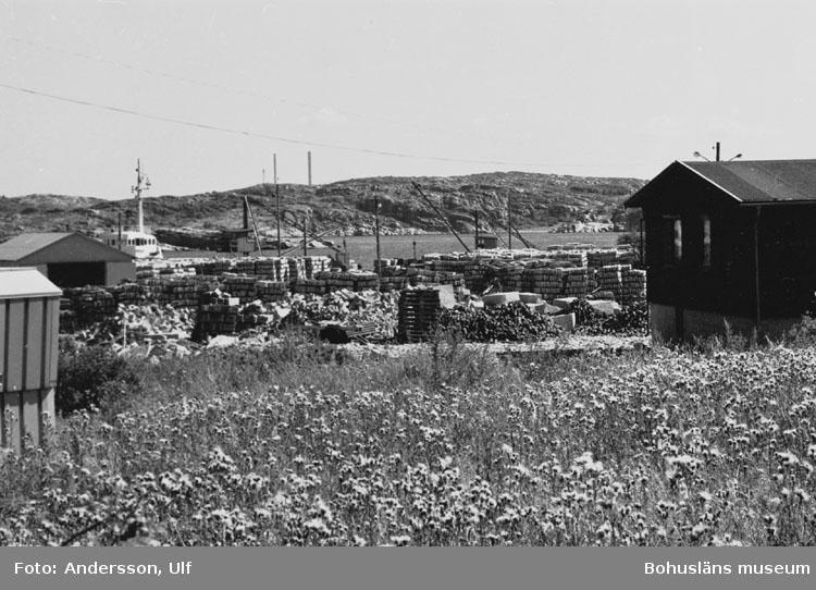 """Bohusläns samhälls- och näringsliv. 2. STENINDUSTRIN. Film: 47  Text som medföljde bilden: """"Vy över lagersten och utskeppsningskajen. Aug. 1977."""""""