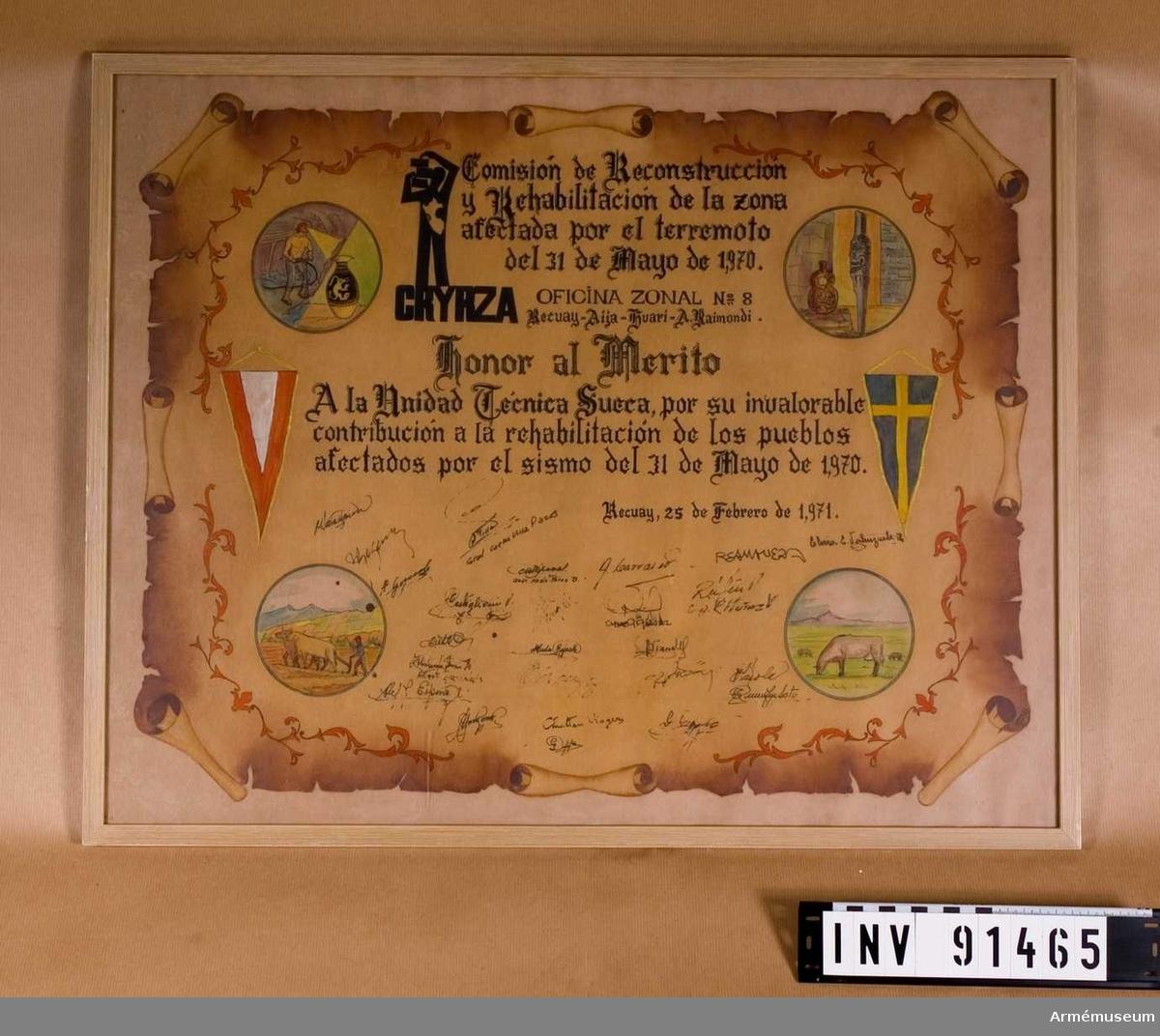 Diplom skrivet på spanska för insats 31 maj 1970.
