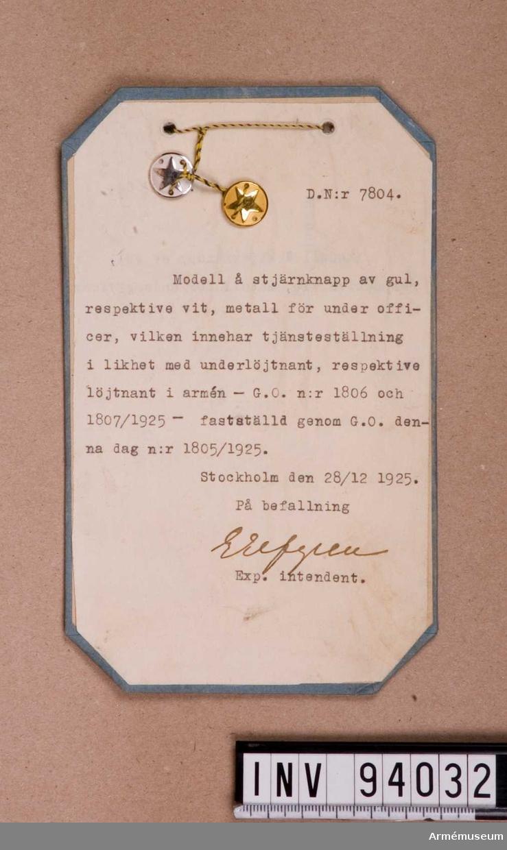 Stjärnknapp, gul resp vit, 1925 mx