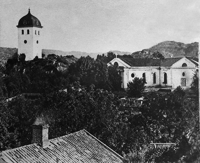"""Enligt tidigare noteringar: """"Kyrkan och klocktornet från sydväst."""""""