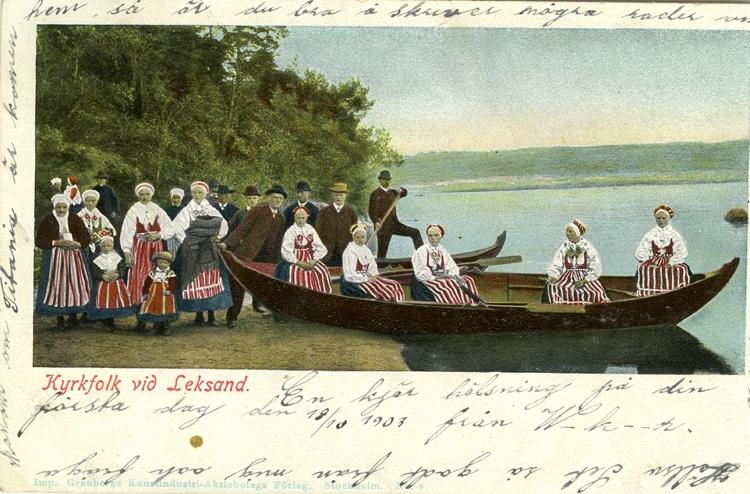 Notering på kortet: Kyrkfolk vid Leksand.