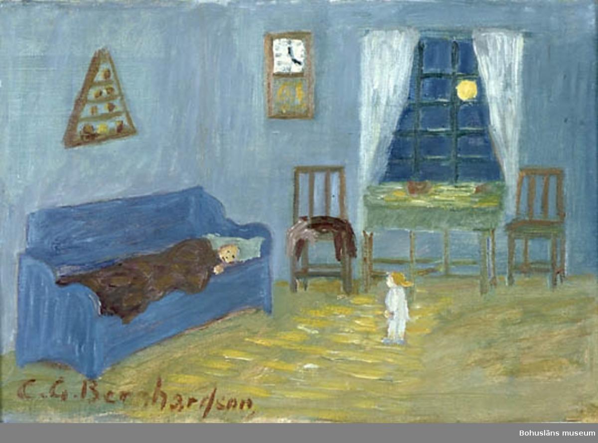 """Baksidestext:  """"Nessen.  E natt Lå jä hos faster. De va Mansken. Då feck  jä se en Nesse stå framför soffa i maneskent och titte på mej. Jä ble ente rädd.  Folklivsskildring Skaftö C.G. Bernhardson L.j.l - valla Berättelse från sin Barndom 1901.""""  På rikssvenska: """" En natt låg jag hos faster. Det var månsken. Då fick jag se en nisse stå framför soffan i månskenet och titta på mig. Jag blev inte rädd.""""  Ordförklaring: Nessen = vätte, litet tomteliknande väsen.  Litteratur: Bernhardson, C.G.: Bohuslänsk sed och folktro, Uddevalla, 1982, sidan 32.  Titel i boken: Nessen.  Övrig historik; se CGB001."""