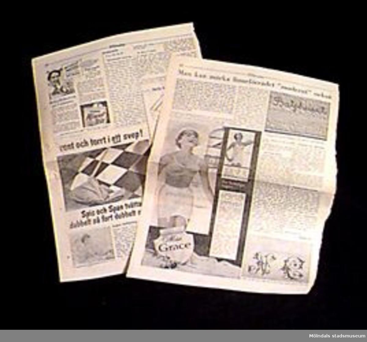 """Undervisningsmateral i form av en tidningsartikel på två sidor: """"Man kan märka linneförrådet 'modernt' också"""".Samhör med övrigt material rörande linneförråd, 02706-02722, 02727-02729.Övriga uppgifter se 02643:1."""