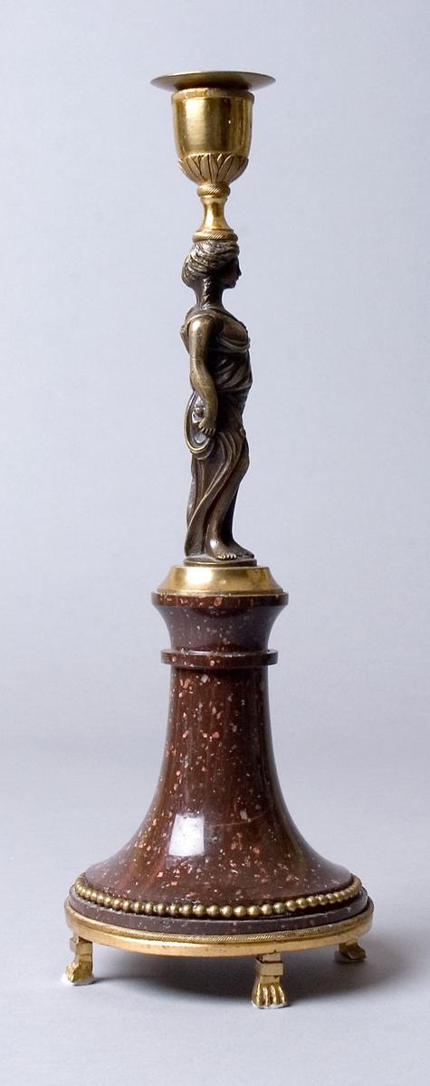 Ljusstake. Med lös manschett med punsad dekor. Manschettoch ljuspipa av förgylld brons. Ljuspipa och manschett  bärs upp av en stående antikiserad kvinnogestalt i form av en stiliserad karyatid som är dekorerad med draperad antikiserad kläddräkt. Figurens ena arm håller ljuspipan mot huvudet. Kvinnofiguren är tillverkad i patinerad brons och monterad på foten med en förgylld bas. Den klockformade foten är tillverkad i rödrandig Rånäsporfyr med en svulst i övre kant. Foten är dekorerad kring sockeln med en pärlstav i förgylld brons. Foten vilar på en avslutande montering i förgylld brons med fyra lejontassar.