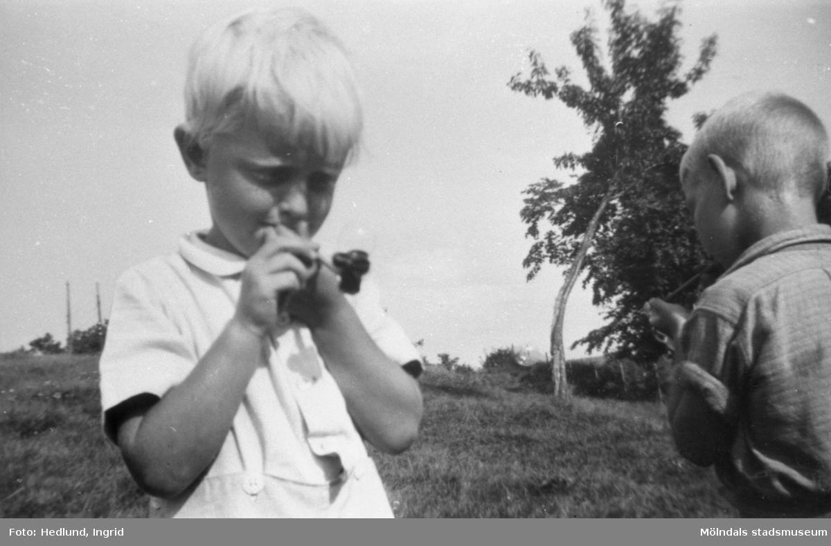 """Bosgårdens barnträdgård 1938-1945. Två pojkar som blåser såpbubblor utomhus vid. Vid en intervju med förskolläraren Ingrid Hedlund berättar hon """"han var så söt och hade långa ögonfransar och var ljus och vacker som en gud. Jag var med mamman, vi cyklade och lämnade bort honom på ett hem. Tragiskt, urtragiskt."""""""
