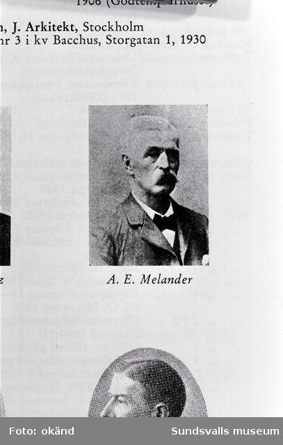 Arkitekten A E Melander, ritade bl a Försöket 1 , 2 o Tara 2