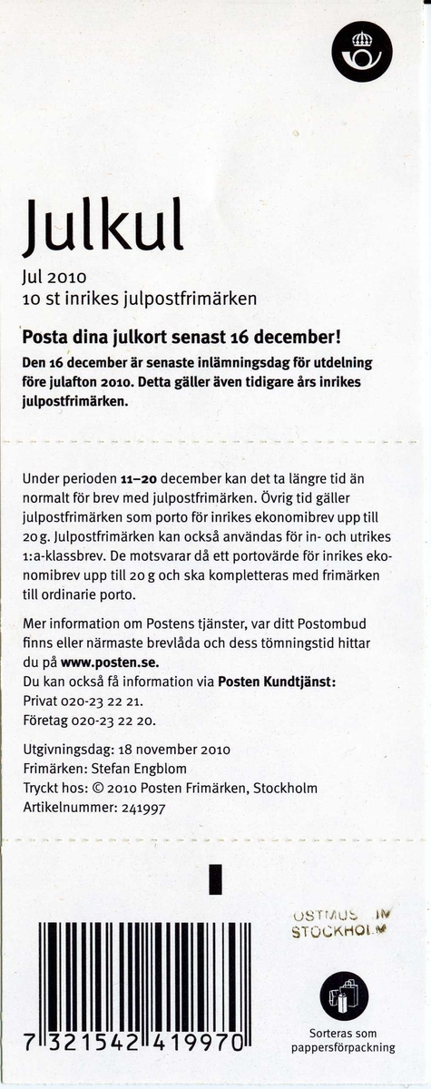Julpynt som formar orden jul post.