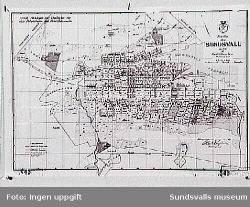 Karta över Sundsvall 1910, av Karl Aberstén.
