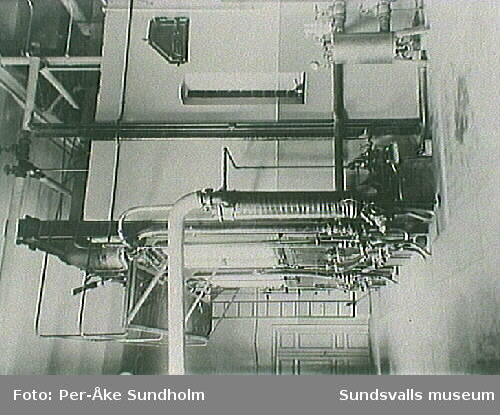 Pannrummet vid M1,elektricitetsverket med två st vattenrörspannor samt en elpanna på 100 kW .