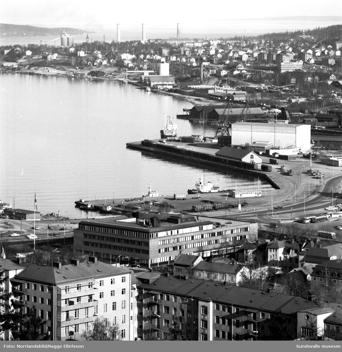 Sundsvall sett från Norra berget. Hamnen, oljehamnen, fryshuset, GA-kyrkan, Stenstaden.