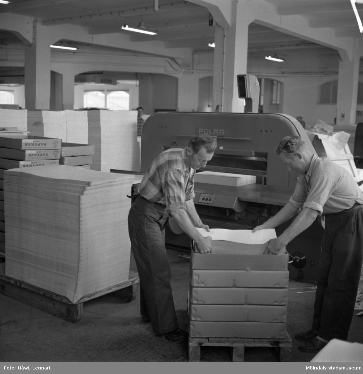 Män i arbete vid maskin på Papyrus i Mölndal, 15/11 1958.