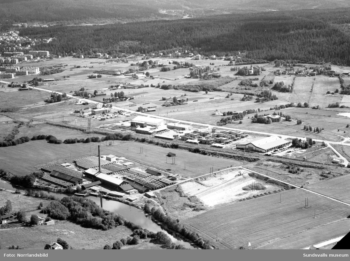 Flygfoto över västra industriområdet med Nacksta tegelbruk.