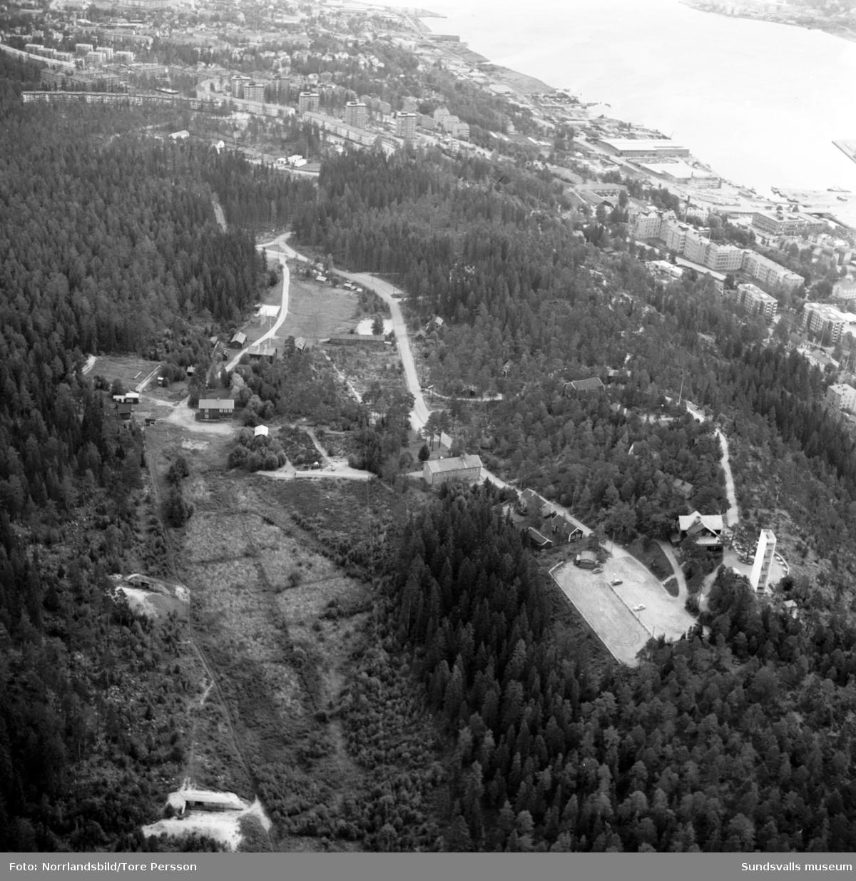 Flygfoto över Norra bergets fritidsområde.