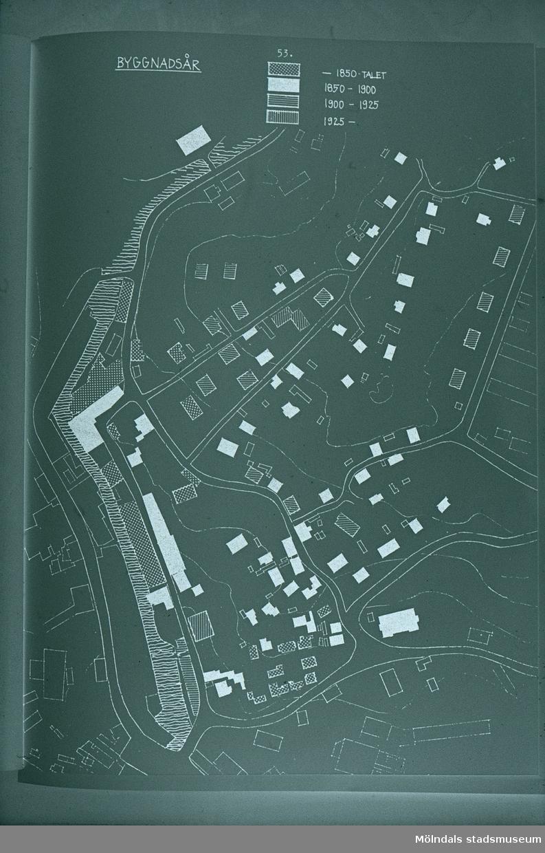 Roten K, L och M samt Götaforsliden i Mölndal. Karta som visar på byggnadernas ålder. Illustration i Helena Jakobssons bok om Mölndals Kvarnby från 1972.