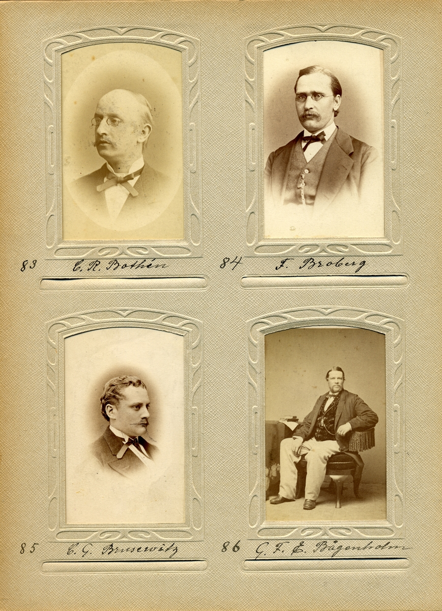 Porträtt av G.F.E. Bågenholm, resepostexpeditör vid Södra Distriktet 1871-1874.