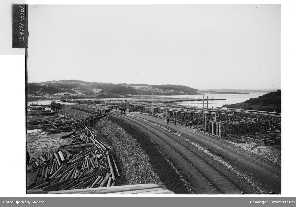 Jernbanesporet utover mot havna i Levanger
