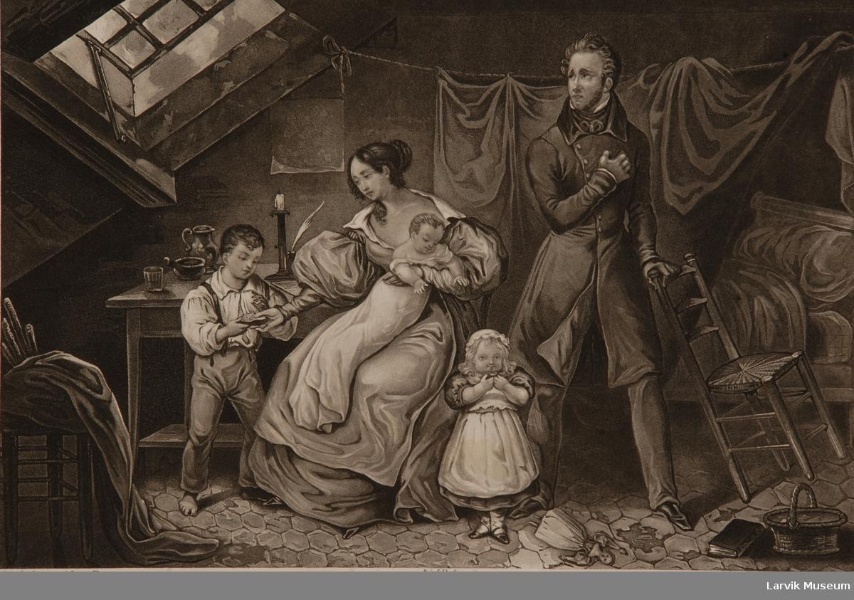bildene forestiller to forskjellige avsnitt i en adels- dames liv og er øyensynlig ellers en illustrasjon til en populær-sentimental roman. trykt i Paris senest i 1840 årene. ulykkelig ektepar m/3 barn i usselt barneværelse