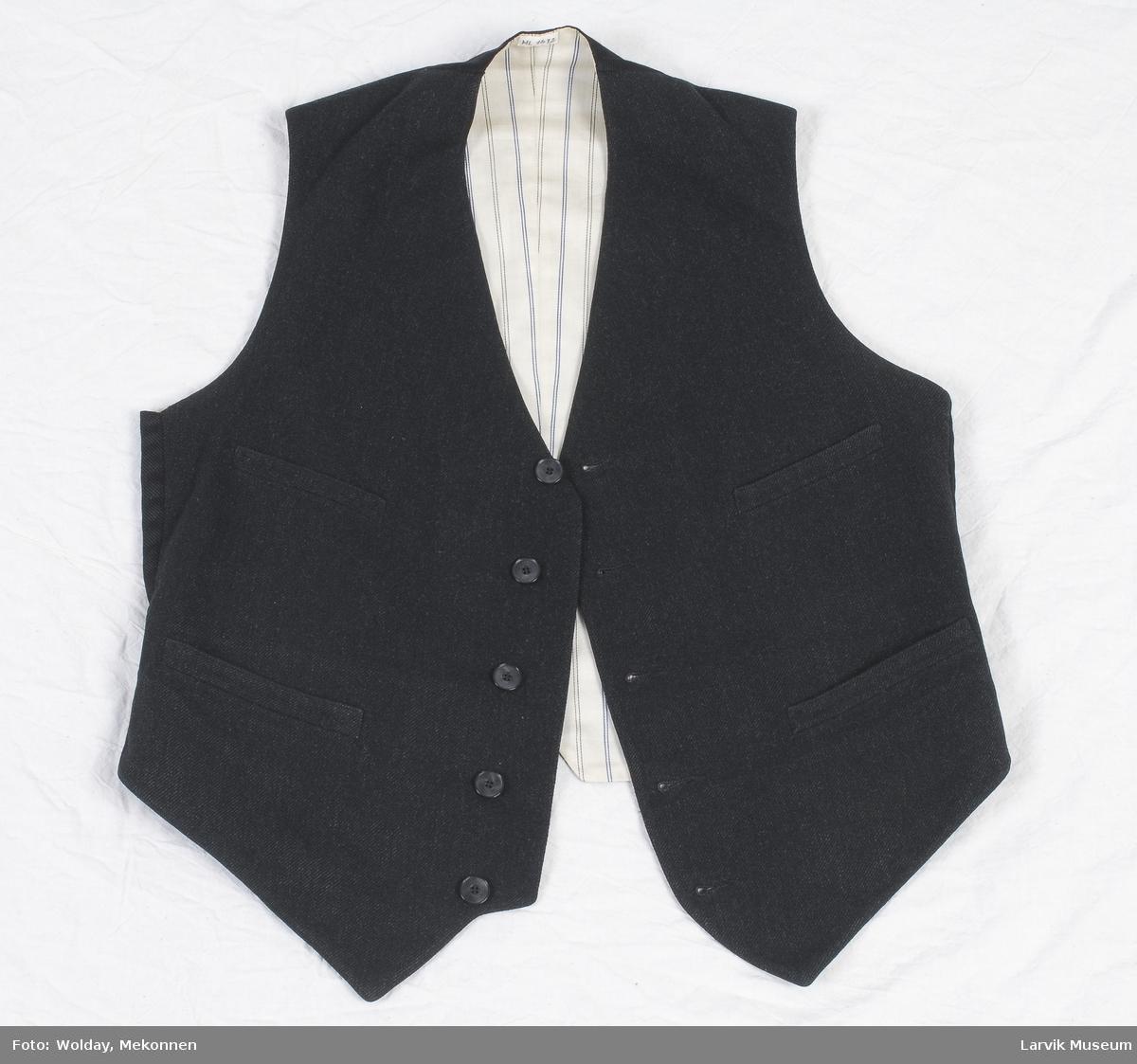 Form: sort ullkypert,som nr. 1611,rygg av sort