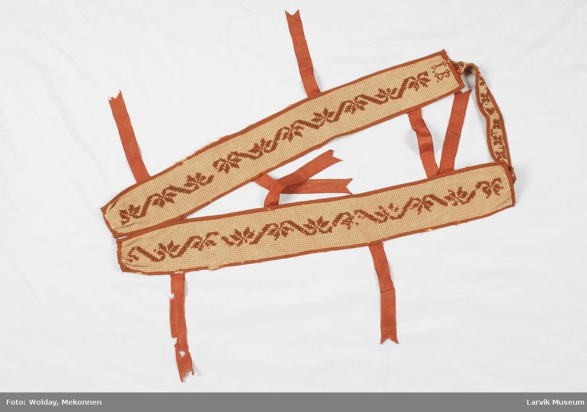korsstingsbord i brunt ullgarn