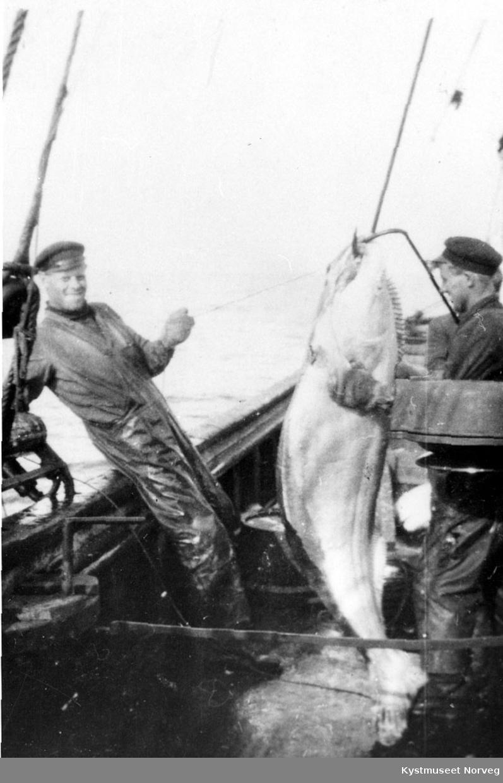 Karl Aspø til høyre og ?, Flatanger, kveitefiske