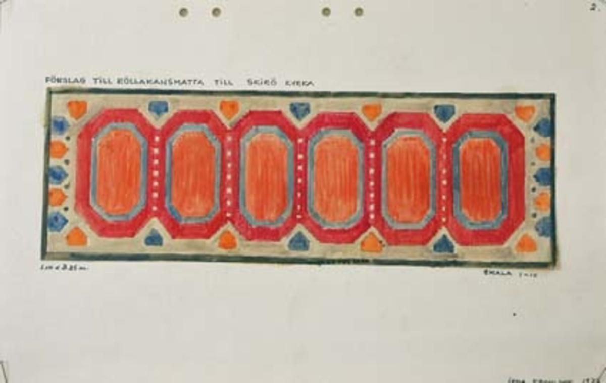 Fem skisser med förslag till rölakanmatta till Skirö kyrka. GHKL 4146:1Förslag till rölakanmatta till Skirö kyrka. 1,10 x 3,25 m. Skisstorlek ca 11 x 32,5 cm. Skala 1:10. Skissen är märkt med nr 2.GHKL 4146:2Förslag till rölakanmatta till Skirö kyrka. 1,10 x 3,25 m. Skisstorlek ca 11 x 32,5 cm. Skala 1:10. Skissen är märkt med nr 3.GHKL 4146:3Förslag till rölakanmatta till Skirö kyrka. 1,10 x 3,25 m. Skisstorlek ca 11 x 32,5 cm. Skala 1:10. Skissen är märkt med nr 4.GHKL 4146:4Förslag till rölakanmatta till Skirö kyrka. 1,10 x 3,25 m. Skisstorlek ca 11 x 32,5 cm. Skala 1:10. Skissen är märkt med nr 6.GHKL 4146:5Förslag till rölakanmatta till Skirö kyrka. 1,10 x 3,25 m. Skisstorlek ca 11 x 32,5 cm. Skala 1:10. Skissen är märkt med nr 7.BAKGRUNDHemslöjden i Kronobergs län är en ideell förening bildad 1990. Den ideella föreningen ersatte Kronobergs läns hemslöjdsförening bildad 1915.Kronobergs läns hemslöjdsförening hade butiksverksamhet och en vävateljé med anställda väverskor och formgivare där man vävde på beställning till offentliga miljöer, privatpersoner och till olika utställningar.Hemslöjden i Kronobergs län har idag ett arkiv med drygt 3000 föremål, mönster och skisser från verksamheten och från länet. 1950-talet var de stora beställningarnas tid och många skisser och mattor till kyrkorna kom till under detta årtionde.