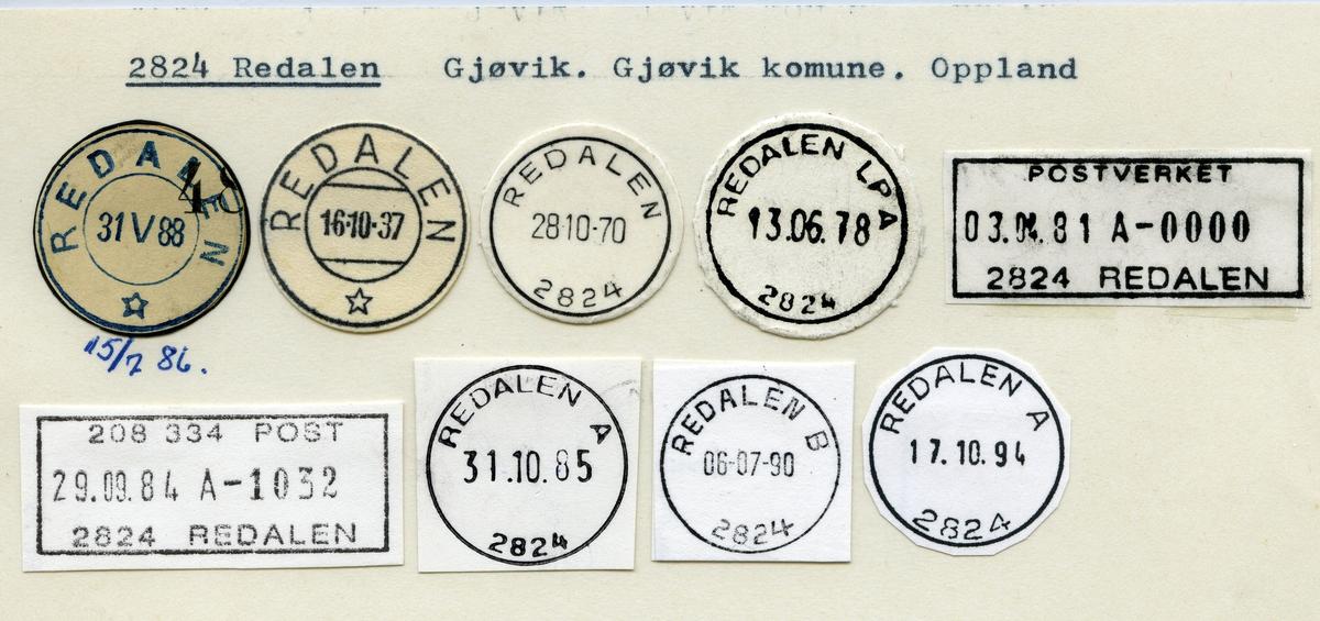 Stempelkatalog 2824 Redalen, Gjøvik, Oppland