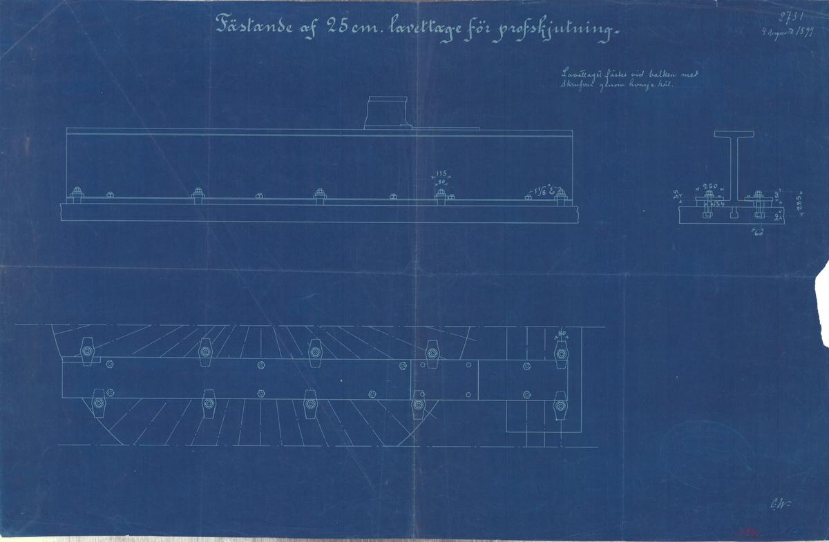 Ritning på fästande av 25 cm lavettage för provskjutning.
