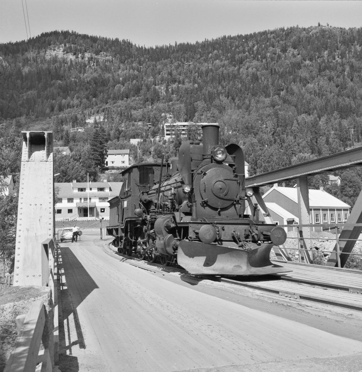 Damplokomotiv 21e nr. 207 på den kombinerte vei- og jernbanebroen ved Rødberg på Numedalsbanen.