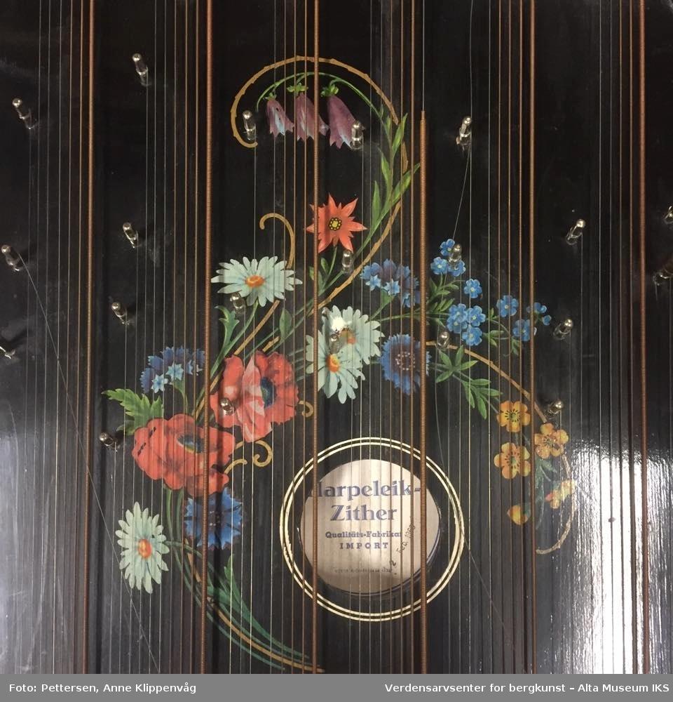 Rektangulært strengeintrument, laget i tre. Sortlakkert, med et påmalt blomsterdekor rundt hullet i resonanskassen. Følger med stemmeskrue som har trehåndtak.