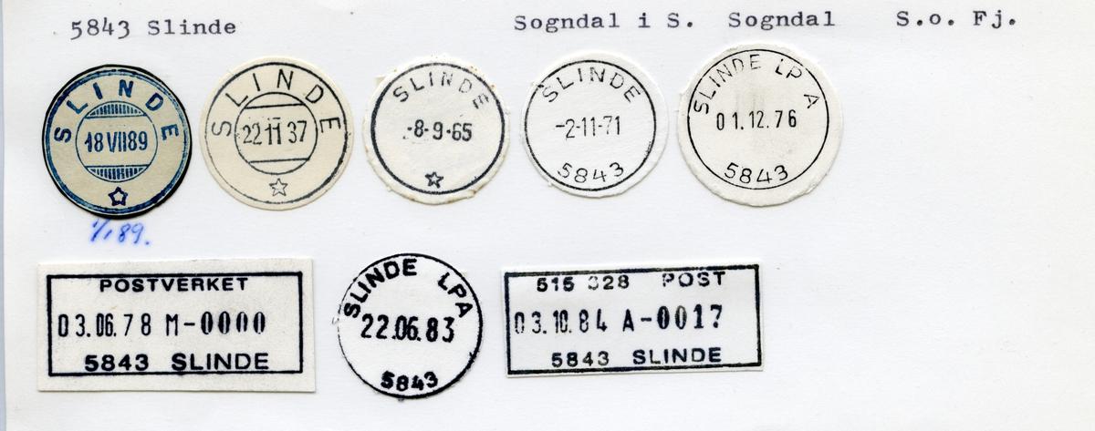 Stempelkatalog  5843 Slinde, Sogndal kommune, Sogn og Fjordane