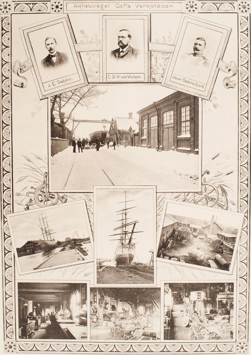 Aktiebolaget Gefle verkstäder. Bildcollage med porträtt av ägarna (?) samt bilder från varv och av fartyg som byggts där.