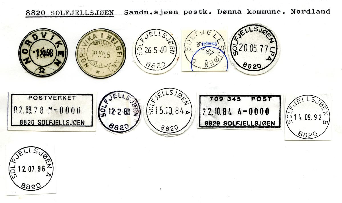 Stempelkatalog  8820 Solfjellsjøen, Dønna kommune, Nordland