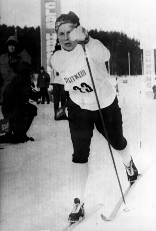 Toini Gustavsson, segrarinna i damernas 5 km, vid Skid-SM i Lycksele.