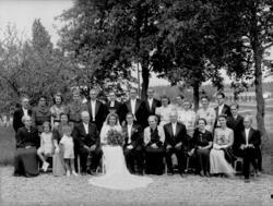 Bröllop, brudpar och bröllopsgäster.Tvåvånings bostadshus i
