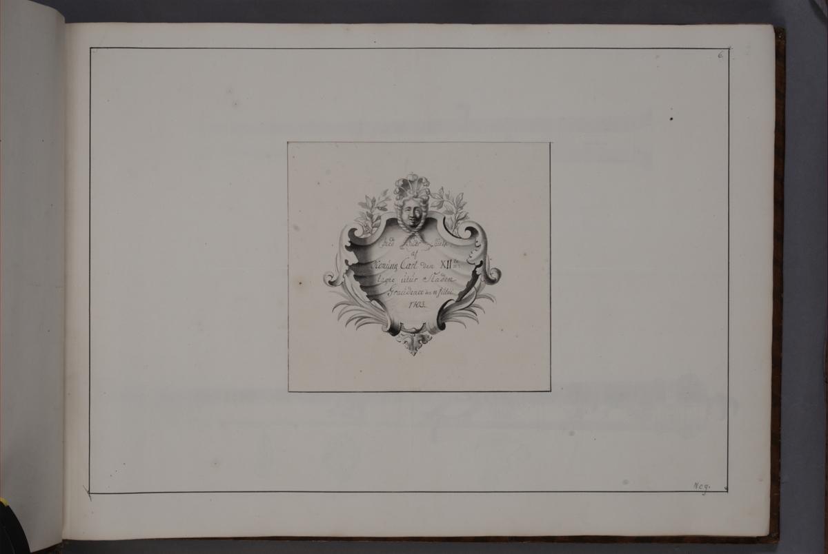 Kartusch till bokverk med avbildningar föreställande eldrör tagna som troféer av den svenska armén åren 1703-1706, utförda av syskonen Anna Maria och Philip Jakob Thelott. Avser troféer tagna utur staden Graudenz den 18 juli 1703. Kartuschen troligen utförd av Thomas Cunninghame 1746.