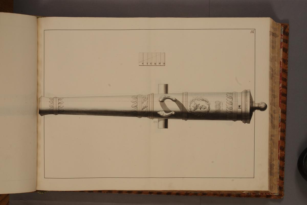 Avbildning föreställande dansk trofé med Frederik III:s vapen. Ingår i volym med avbildade äldre svenska eldrör förvarade på fästningar samt eldrör erövrade åren 1598-1679.