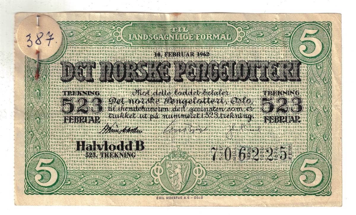Falsk lodd til det norske pengelotteri