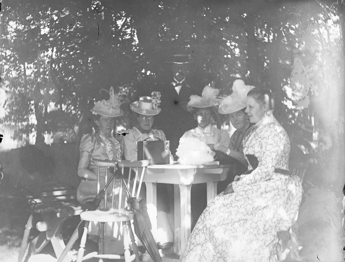 Fem kvinner sitter ved et bord under trær hvor det er skygge. En mann står bak gruppen. Foran støttet til en stol står to parasoller eller paraplyer.