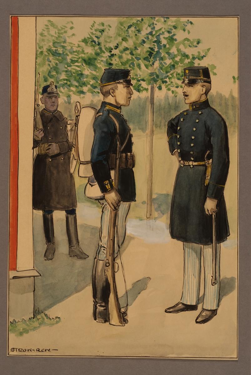 Plansch med uniform för officer och meniga vid Västgöta regemente 1886, ritad av Einar von Strokirch.