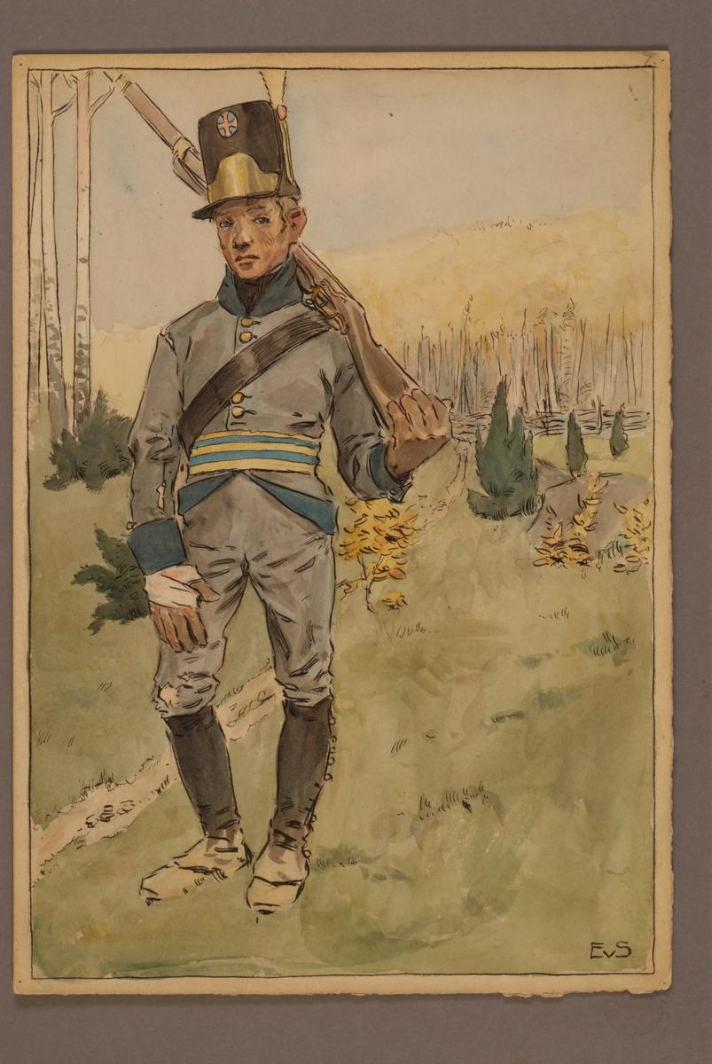 Plansch med uniform för Infanteriets jägare 1806, ritad av Einar von Strokirch.