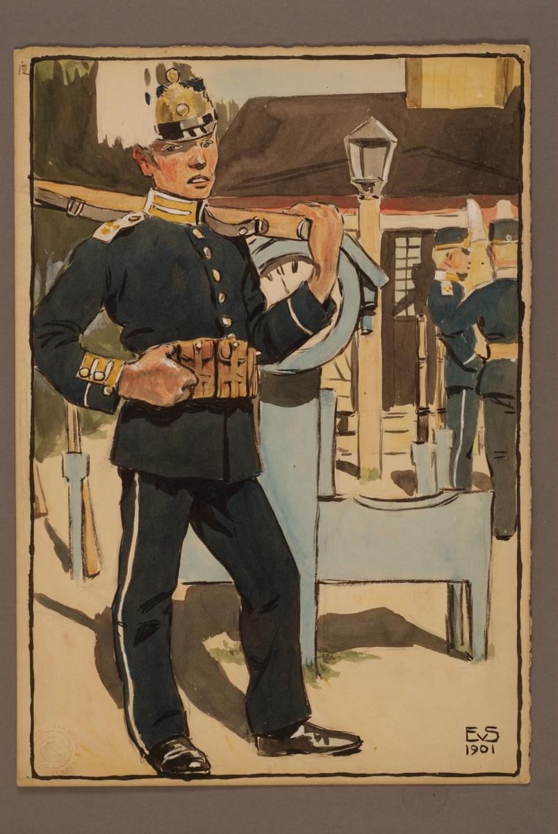 Plansch med uniform för Livregementet till fot, ritad av Einar von Strokirch.
