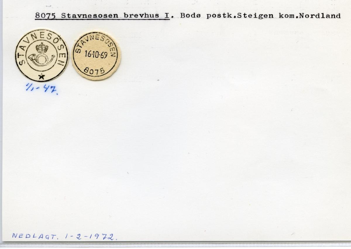 Stempelkatalog  8075 Stavnesosen, Steigen kommune,Nordland