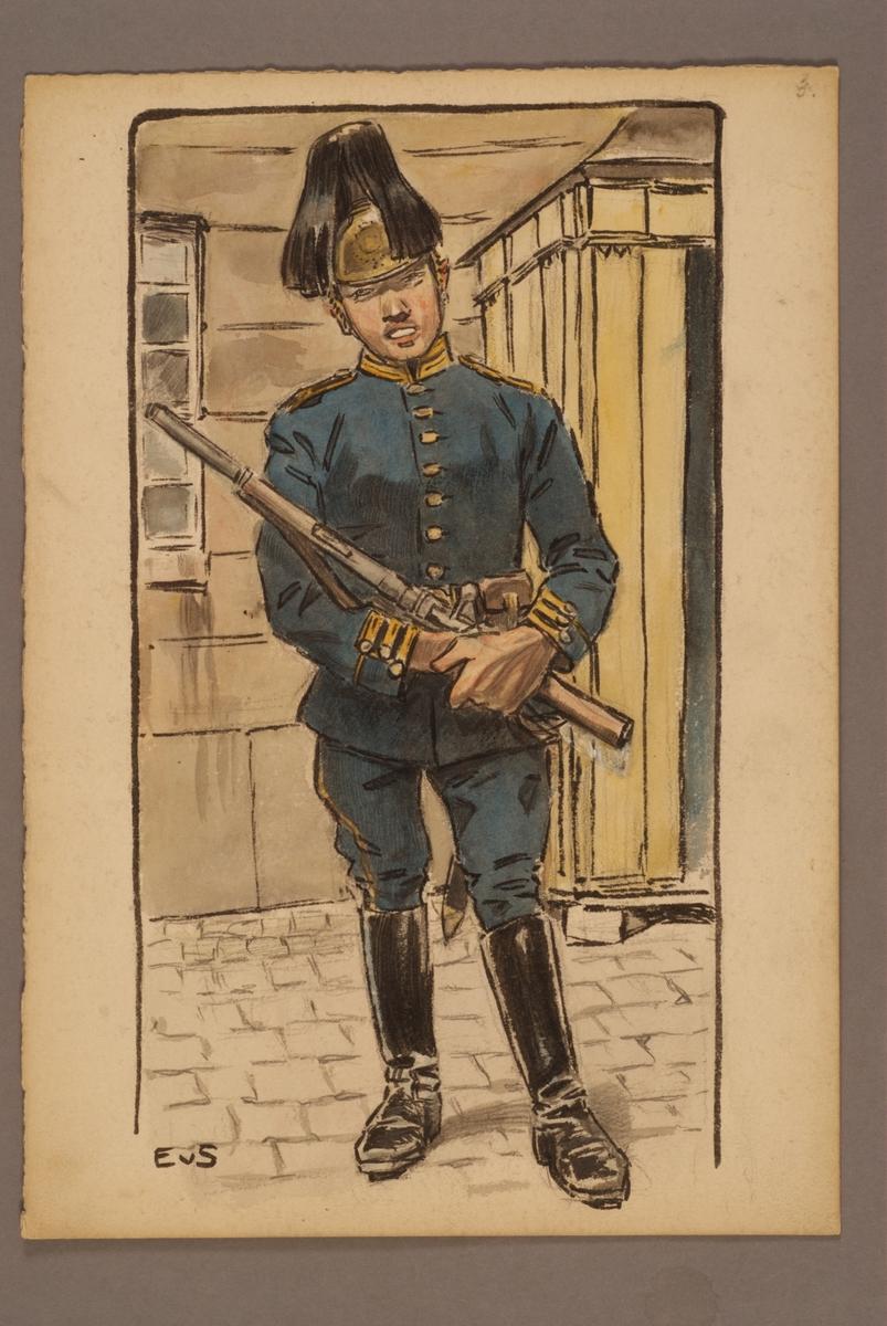 Plansch med uniform för ingenjörstrupper, ritad av Einar von Strokirch.