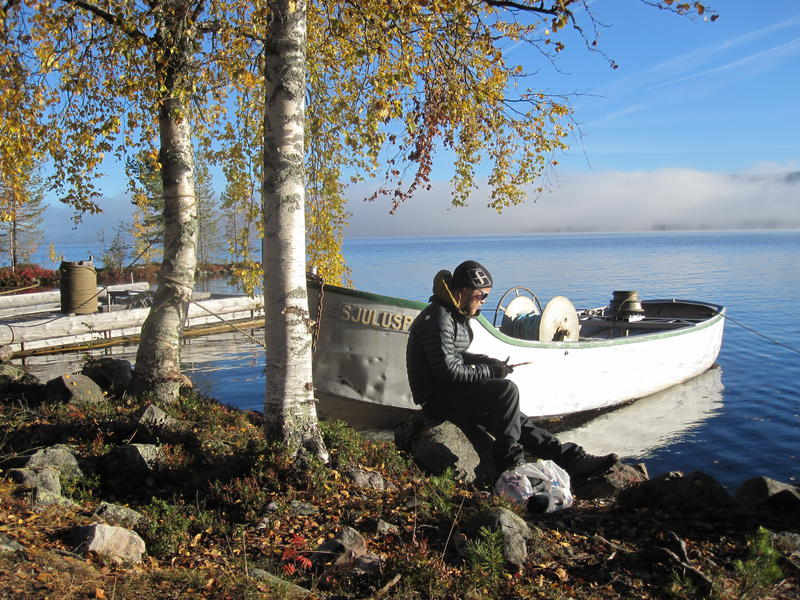 Spillflåte og varpebåt ved Osensjøen, Sørlistøa Fløtermuseum