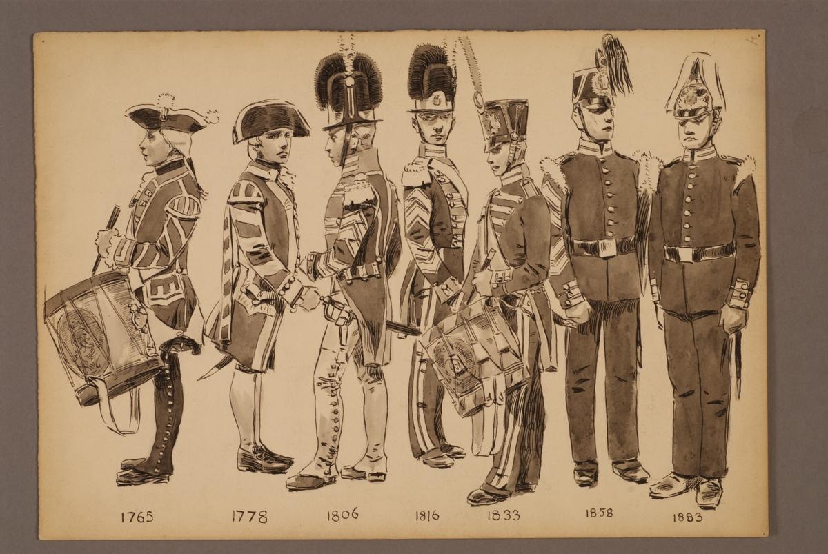 Plansch med uniform för Svea livgarde för åren 1765-1883, ritad av Einar von Strokirch.