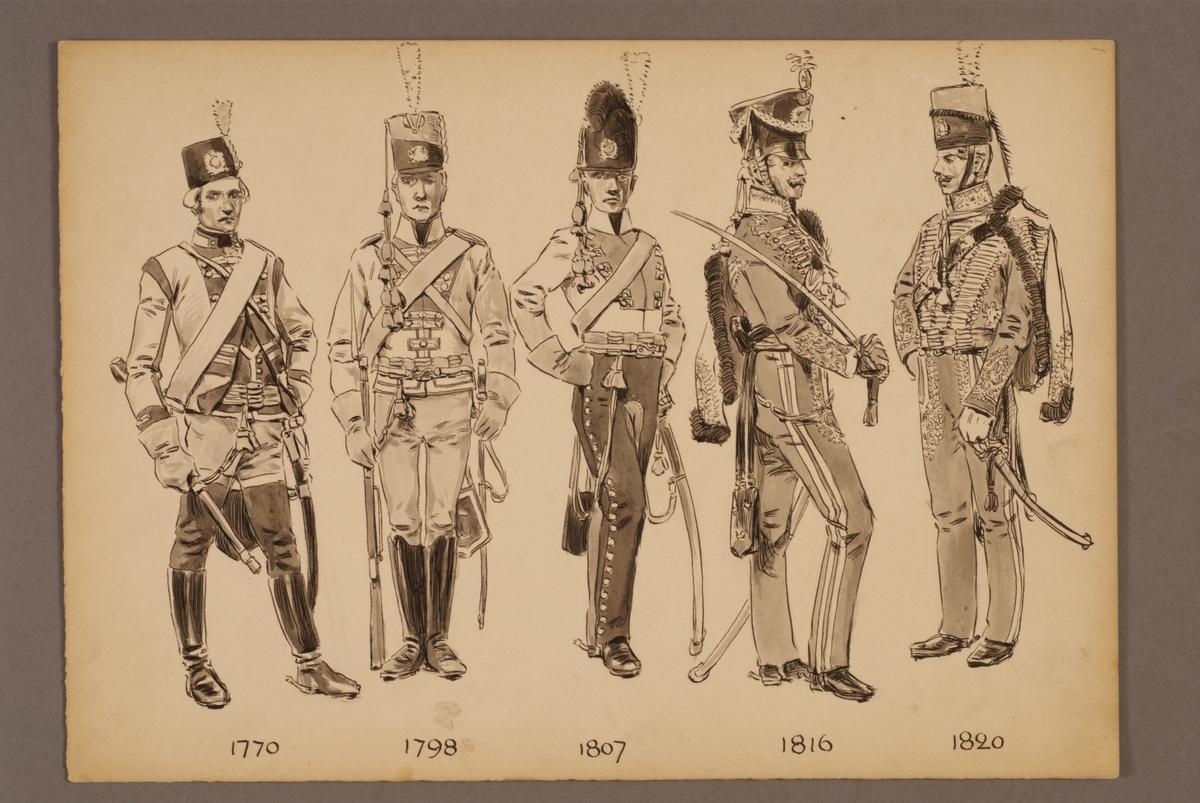 Plansch med uniform för Livgardet till häst för åren 1770-1820, ritad av Einar von Strokirch.