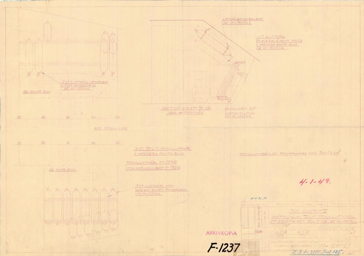 Sammanställningsritning på insättning av 75 l tryckluftkärl i SB och BB kompr rum