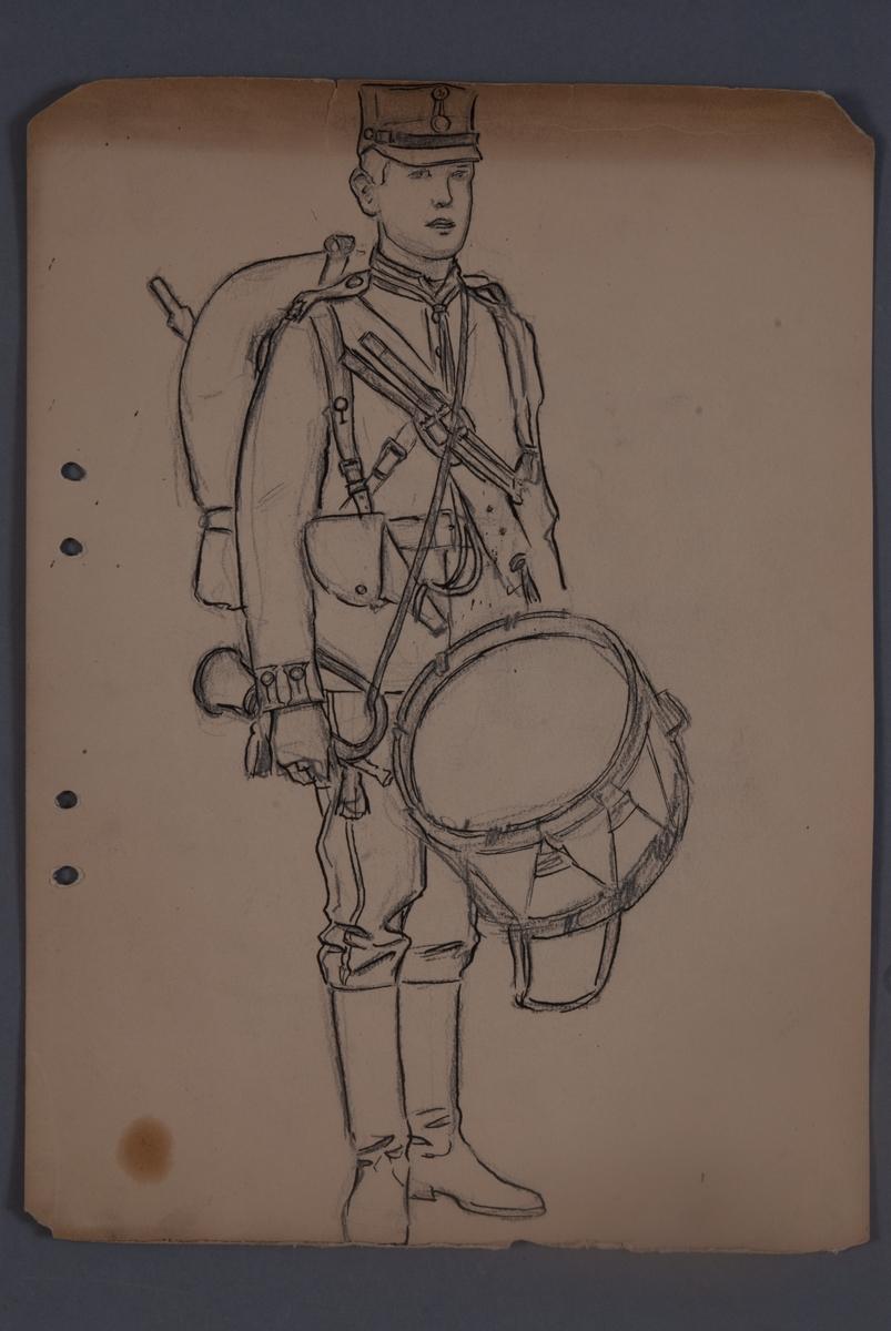 Uniformsskiss av trumslagare, teckning av Einar von Strokrich.
